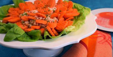 ensalada de atún con lechuga y zanahoria