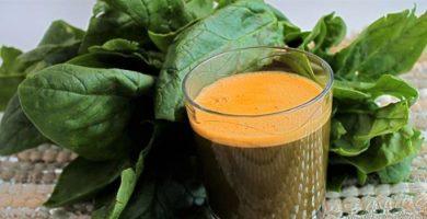 jugo de espinaca y zanahoria